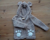 Animal hooded jacket - bear- rabbit - wolf - knitted- handmade -ears - paw - claw appliques - neutral colour - newborn - baby shower gift