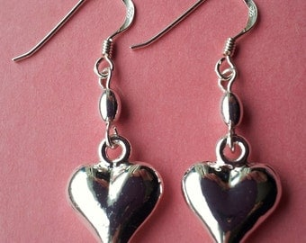 Shiny Heart earrings with Sterling silver hooks HT3