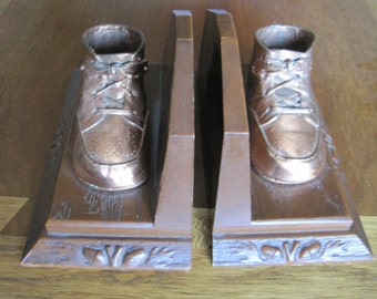 Bronze Shoe Bookends, Vintage