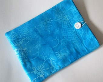 Padded iPad Case, iPad Cover, iPad Sleeve, iPad Holder Batik Tie Dye Blue