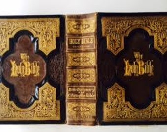 Leather Bound Gilded 1800's  the Holy Bible - References, Bible Dictionary and Cities of the Bible