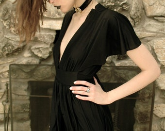 Black witch gown with butterfly sleeves