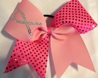 Sequin Pink Breast Cancer Awareness Cheer Bow with Rhinestone Ribbon