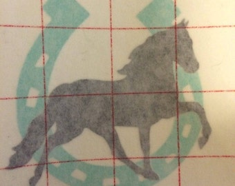 horse and horse shoe decal