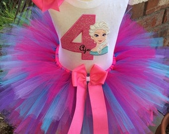 Frozen Queen Elsa Birthday Party Tutu Outfit Dress Set Handmade 1st 2nd 3rd in Pink Purple and Turquoise
