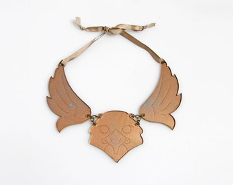 Hawk laser cutted cotton oxidized copper maxi necklace