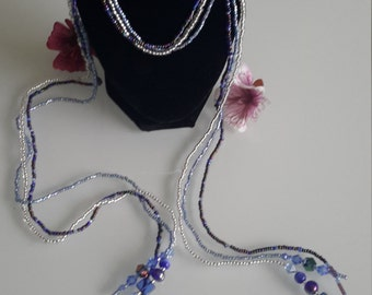 Blue and White beaded scarf necklace