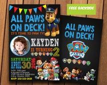 Paw patrol - Paw patrol invitation - Paw patrol birthday invitation - Paw patrol invitation printable - Paw patrol invites - with photo