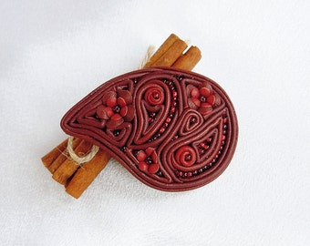 Leather brooch Leather flower brooch Leather jewelry Burgundy color Gift for her Beaded leather brooch Paisley brooch Leather pin Brooch