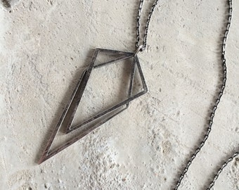 Uneven sterling silver pendant - geometric oxidized