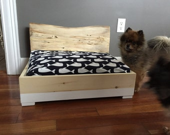 Custom Wood Dog Bed, Cat Bed, Pet Bed With a log Headboard
