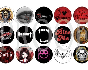 Digital Bottle Cap Image Sheet - Vampire - 1 Inch Digital Collage - Instant Download