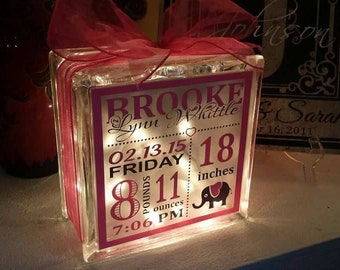 Personalized baby stats 8x8 lighted glass block