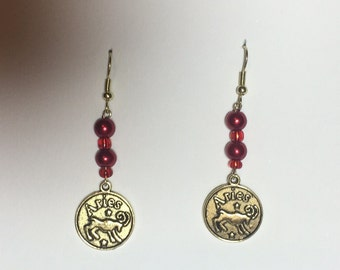 Red aries zodiac sign earrings