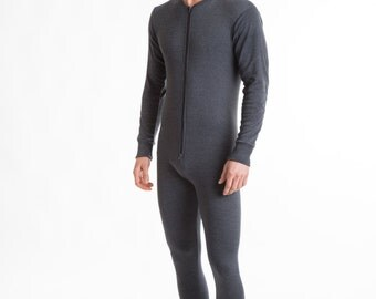 OCTAVE® Mens Thermal Underwear All In One Union Suit with Zipped Back Flap
