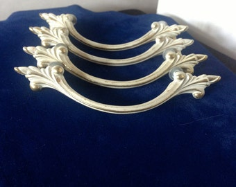 Vintage 1960's Bow-Shaped Drawer Pulls--Shabby Chic White and Gold French Provincial Style