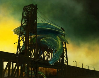 Portland Bridge Dragon art print // pigment print, archival, 5x7 8x10 11x14 // Oregon art, fantasy art, dragon, Steel Bridge, bridge art