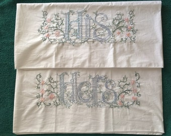 Embroidered pillowcases His and hers – beautiful