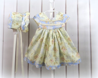 Summer Ensemble, Baby Girl Dress, Bonnet, Nostalgic Prints, Size 6 Months, Handmade, Classic Style, Comortable, Pastel Blue and Yellow