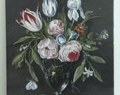 """painting Copie of by Jan van Kessel """" Roses, Tullips, Irises and others flouers in a glas vase  whith butterfly and others insects."""