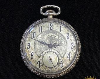Illinois OF 21 Jewel Pocket Watch c.1925 size 8