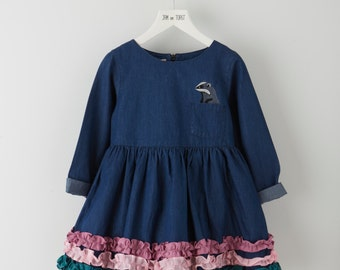 Dark denim with Frill Dress
