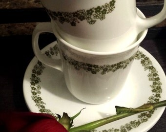 Corelle by Corning Vintage Cup and Saucer Set of 2