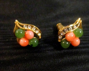Little Pink and Green Bead Earrings
