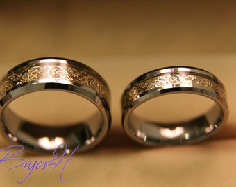 Tungsten Wedding Bands Set Matching Size Ring Inlay Gold Engraved