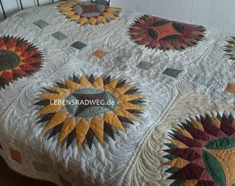 Sunflowers, patchwork, quilt, quilt