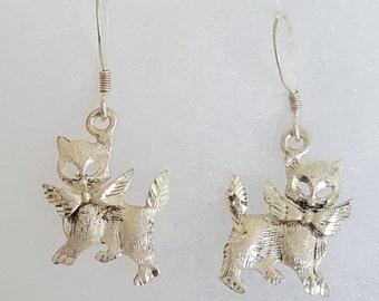 Silver Kitten Earrings