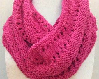 Pink Scarf, Cotton Scarf, Knit Scarf, Infinity Scarf, Circle Scarf, Hot Pink Scarf, Magenta Scarf, Fuschia Scarf, Gift for Her, Lynnovation