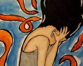 Octopus Girl Painting Mix Media Print
