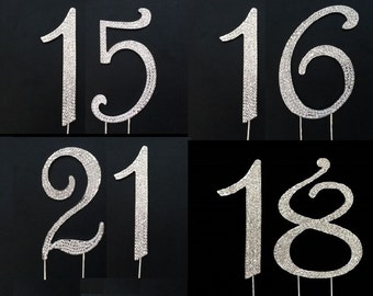 4.5 In. High 15, 16, 18, 21 Numbers Rhinestone Birthday or Anniversary Party Cake Topper In Silver Tone