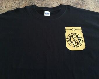Monogram Mason Jar tshirt.  Back to school, birthday, christmas, monogram tshirt.