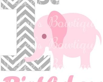Pink and Grey Elephant Birthday Girl Iron on Transfer Custom Made