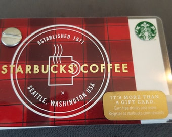 Starbucks Upcycled Refillable Giftcard Notebook - 2015 Holiday Red Plaid Coffee Cup