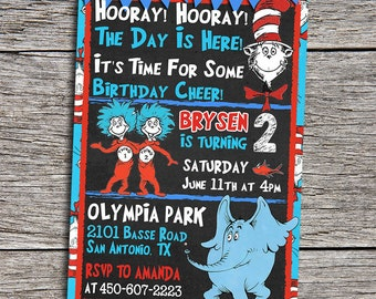 """Cat In The Hat Birthday Party Invitation - Digital Printable Personalized Cat In The Hat 5""""x7"""" Invite - Dr. Seuss Birthday Invitation"""