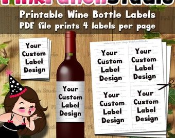 Personalized Custom Design DIY Printable Wine Bottle Label Avery #22827 PDF File