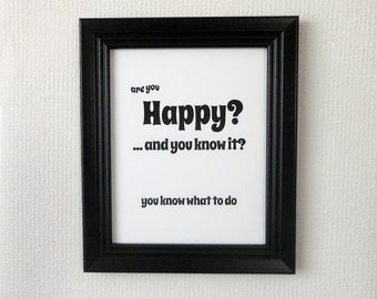 Are You Happy and you know it, inspirational print, Sunday School song