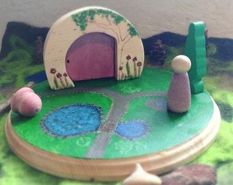 Gnome Home, Waldorf inspired gnome, elf, fairy playscape, nursery decor