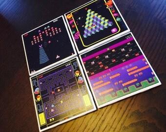80's Video Games Tile Coasters hand-made great gift Q-Bert Galaga Pac-Man Frogger Mrs. Pac-Man