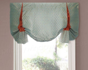 "Stationary London Shade Valance Blue Terra Cotta Gold Woven Upholstery, Dupioni Silk 43"",  Inverted Box Pleat  Faux Shade"