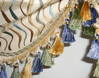 Embroidered Faux Silk Valance Tailed Balloon Window Treatment Blue Yellow Green Fringe 40""