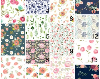 Feminine floral baby bedding - girl baby bedding - peach mint teal pink - wild flower crib sheet changing pad cover skirts and bumpers