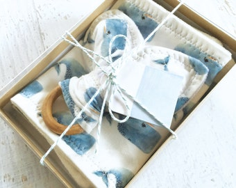 Baby Boy Gift Set, Certified Organic Handmade Set, Teething Ring & Washcloths, Whales