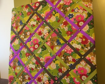 Memory Board made with vintage fabric