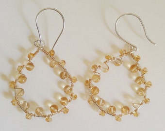 Citrine and sterling silver teardrop earrings with gold filled wire wrap