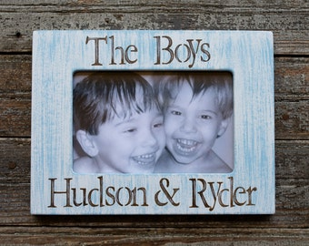 personalized the boys picture frame 4x6 in cottage stripes sky blue hand painted custom made baby shower gift newbornsiblingsbrothers