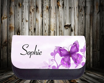 Personalised cosmetic bag, Make up bag, Butterfly print, Birthday gift, Gift for her, Custom gift